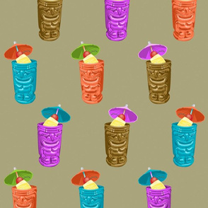 Tiki Mugs Retro Hawaiian Tropical Drinks - Khaki