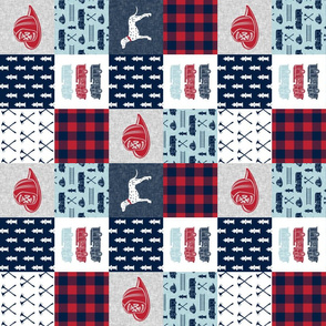 """(3"""" small scale) firefighter wholecloth - patchwork - red blue navy (90) C19BS"""