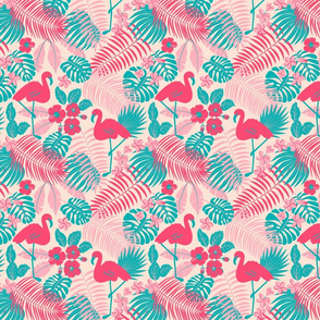 flamingos and tropical palms