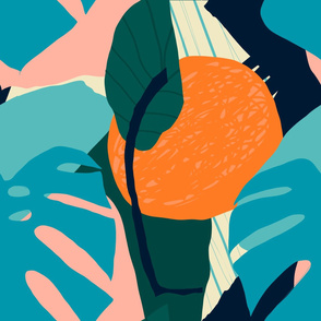 Orange and monstera