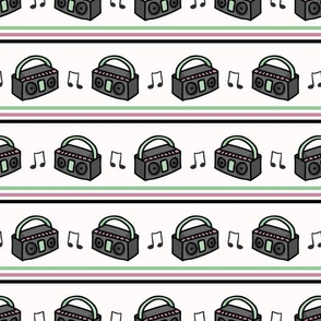 Cute retro boombox stripe cartoon seamless pattern