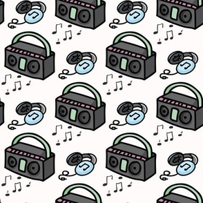 Cute retro boombox and headphones cartoon seamless pattern.