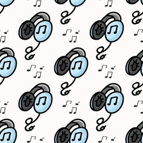 Cute headphones cartoon seamless pattern.