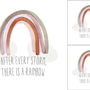 1 blanket + 2 loveys: after every storm there is a rainbow + neutral rainbow no. 1