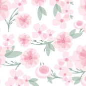 Flowers Pink Green - Layered Watercolor Style