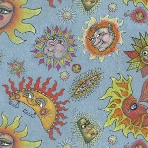 different fantasy sun faces, small scale, blue gray grey yellow orange red