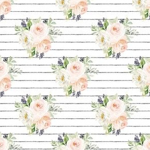 "3"" Dreamsicle Florals // Pencil Black Stripes"