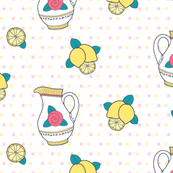 Lemonade Pitcher and Lemons on White Background with Pink and Yellow Square Polka Dots - Large Print