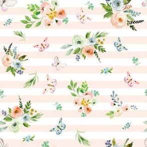 "6"" Spring Time Bunny Florals Pale Peach Stripes"
