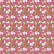 Hummingbird garden in raspberry background