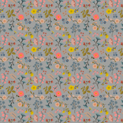WOODLAND FLOWERS gray 6""