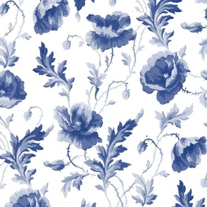 Poppies For Dorothy ~ Willow Ware Blue and White _ Copyright Peacoquette 2019