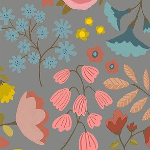 WOODLAND FLOWERS gray jumbo