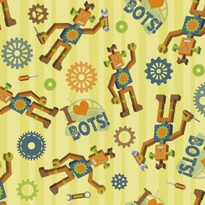 Vintage Scattered Robots on a Field of Gold