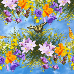 Butterflies and Floral Garland on Blue Sky
