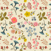 WOODLAND FLOWERS cream