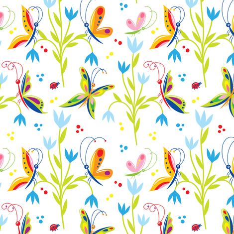 Cute Butterflies & Blue Flowers on White