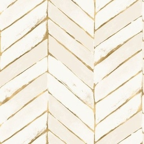 chevron painted-cream gold