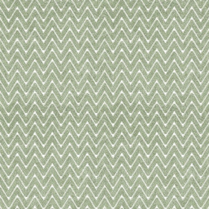 Dusty Sage Green and White Velvet Chevron