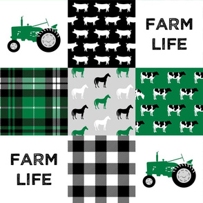 FARM LIFE wholecloth - black and green patchwork - tractor with plaid C19BS