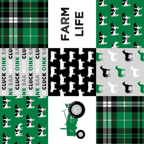 FARM LIFE wholecloth - black and green patchwork - tractor with plaid C19BS (90)