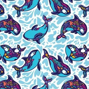 Floral orca whales_2