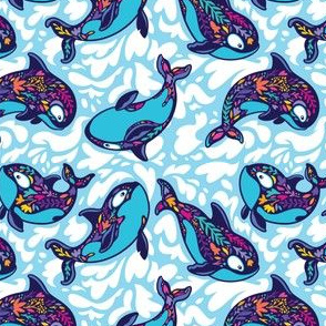 Floral orca whales