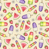 Ice Lollies and Fruit on cream