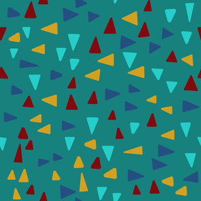 Bright Abstract minimalism triangles in turquoise, blue, yellow and red