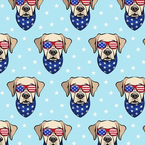 yellow lab - Labrador dog breed faces (blue) - patriotic labs - LAD19