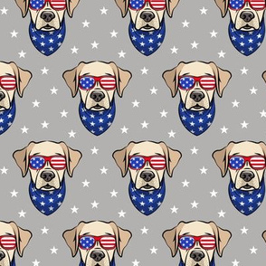 yellow lab - Labrador dog breed faces (grey) - patriotic labs - LAD19