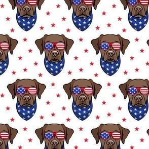 chocolate lab - Labrador dog breed faces (white) - patriotic labs - LAD19