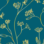 Golden, gradient, elegance floral pattern
