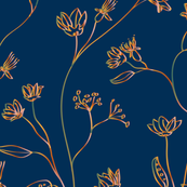 Chique floral design with gradient in gold and green at a deep blue background