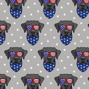 black lab - Labrador dog breed faces (grey) - patriotic labs - LAD19