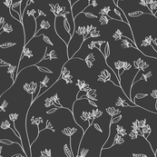 Floral design in grayscale