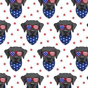 black lab - Labrador dog breed faces (white) - patriotic labs - LAD19