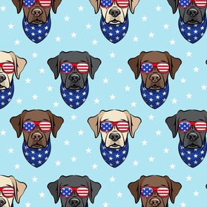 all the labs - patriotic Labrador fabric - yellow, black, chocolate lab faces with sunglasses (blue) - LAD19