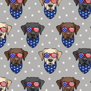 all the labs - patriotic Labrador fabric - yellow, black, chocolate lab faces with sunglasses - LAD19