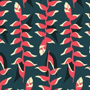 Heliconia Flower - dark green