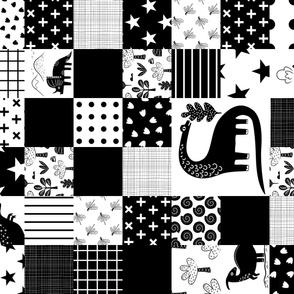 Dinosaur cheater quilt - horizontal