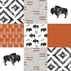 Buffalo - Orange, Greige, White - boho style C19BS