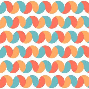 Circle waves rows Pastels fabric