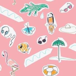 ditsy cutout beach pink