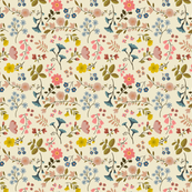 SUMMER WOODLAND FLOWERS cream small scale