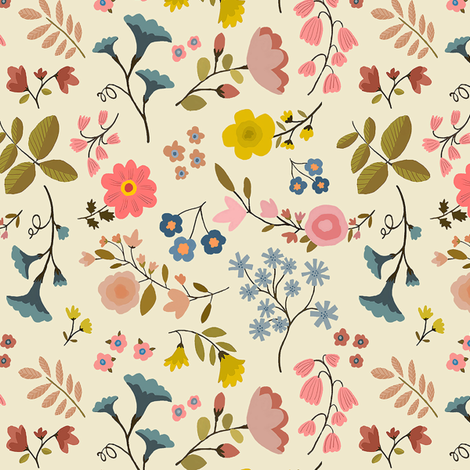 Woodland Flowers Cream 6 Wallpaper Nadinewestcott