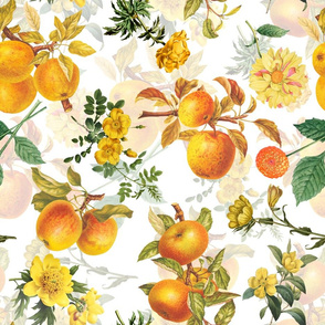 "18""  Pierre-Joseph Redouté- Pierre-Joseph Redoute- Redouté fabric,apples fabric, Redoute apples, Victorian apples, - Redoute fabric, double layer on white"