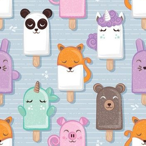 Kawaii Cuddly Animal Ice Creams // small scale // panda fox pig bunny unicorns bear popsicles on pale blue background