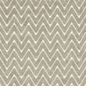 Dusty Sand and White Velvet Chevron
