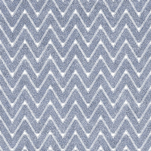 Dusty Denim and White Velvet Chevron